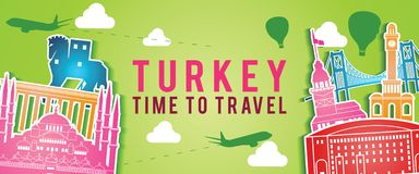 Green banner of Turkey famous landmark silhouette colorful style,plane and balloon fly around with cloud stock image