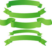 Green banners. Banners from green fabric (on white Stock Illustration