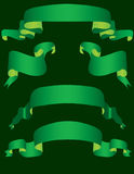 Green banners. On a dark background. Vector illustration Royalty Free Stock Photography