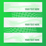 Green banners with brush strokes. And shadows Royalty Free Stock Images