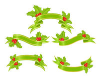 Green banners with holly. Set green banners with holly for christmas decoration. Vector illustration Stock Images