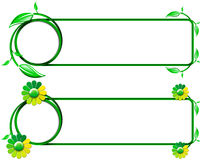 Green Banners with Leaves and Flowers Stock Image