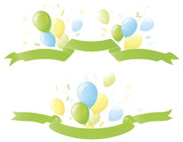 Green Banners with Party Balloons. Green shaded banners with blue green and yellow balloons. Confetti ribbons and stars bursting around edges Stock Photography