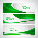 Green banners. Set of green abstract wavy banners Royalty Free Stock Images