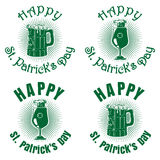 Green banners set with beer for St. Patricks Day. Wooden beer mug, beer glass goblet on a background of diverging rays and greeting inscription. Happy St Royalty Free Stock Image