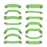 Green banners set blank ribbons. Green ribbon banners set. Beautiful blank for decoration graphic Old vintage style Flat design. Premium decorative elements Royalty Free Stock Image