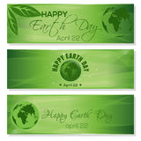 Green banners set for Earth Day. April 22 Royalty Free Stock Photography