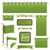 Green banners. Set of green banners, flags and ribbons with foliage decoration,  on white Stock Photos