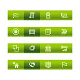 Green bar building icons Royalty Free Stock Photos