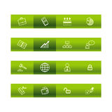 Green bar business icons Stock Photography