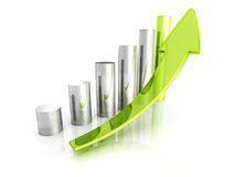 Green Bar Chart Business Growth With Rising Up Arrow. Sccess Concept 3d Render Illustration Royalty Free Stock Photos