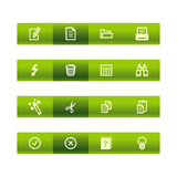 Green bar document icons Royalty Free Stock Images