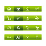 Green bar e-mail icons. Vector file has layers, all icons in two versions are included Stock Images