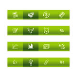 Green bar finance icons. Vector file has layers, all icons in two versions are included Stock Photo