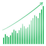 Green bar graph and bright Royalty Free Stock Photo