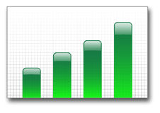Green bar graph up Stock Photography