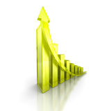 Green bar increasing graph with arrow. Business success concept. 3d render illustration Royalty Free Stock Photo