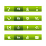 Green bar media icons Stock Photography