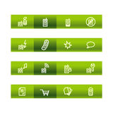 Green bar mobile phone icons. Vector file has layers, all icons in two versions are included Royalty Free Stock Image