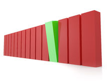 Green Bar Standing out. From the crowd, red bars, isolated on white background Stock Image