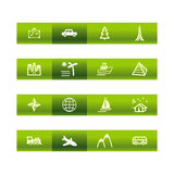 Green bar travel icons Stock Image