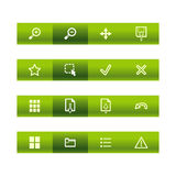 Green bar viewer icons. Vector file has layers, all icons in two versions are included Royalty Free Stock Photography
