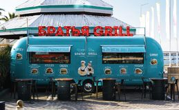 Green Barbecue Grill Food Stall stock photography