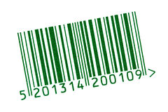 Green barcode isolated on white Royalty Free Stock Images