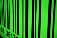 Green barcode with selective focus. Close-up Royalty Free Stock Photo