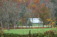 Green Barn in Fall in North Carolina Stock Image