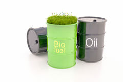 Green barrel of bio fue stock photo