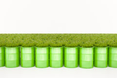 Green barrel of bio fuel stock image