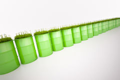 Green barrel of bio fuel royalty free stock photography