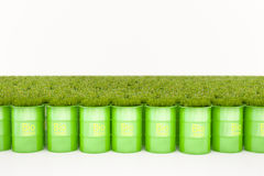Green barrel of bio fuel stock photo