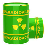 Green barrel with radioactive materials Stock Photo