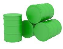 Green barrels natural fuel Stock Photo