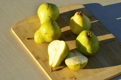 Green Bartlett pears Stock Image