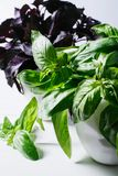 Green basil leaves on background of white brick wall, fresh healthy herbal food on kitchen table, space mock up, dieting leaf. Vegan pesto on wooden on space stock photography