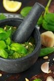 Green Basil Pesto in marble mortar with parmesan cheese, pine nuts, garlic and lemon. royalty free stock images