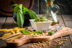 Green basil pesto sauce Royalty Free Stock Photo