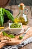 Green basil pesto sauce Stock Photos