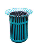 Green basket bin of steel isolated with cliping path. Royalty Free Stock Photography