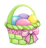 Green basket with colorful Easter eggs and a pink decorative bow isolated on a white background. Royalty Free Stock Photo