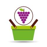 Green basket fresh grape design icon Royalty Free Stock Photo