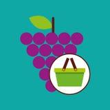 Green basket fresh grape design icon Stock Images