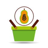 Green basket fresh papaya design icon. Vector illustration Royalty Free Stock Photography