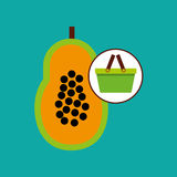 Green basket fresh papaya design icon. Vector illustration Royalty Free Stock Photo