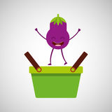 Green basket market and cheerful eggplant Royalty Free Stock Photo