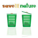 Green basket with meassage vector Stock Photos