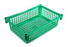 Green basket on white background Stock Photos